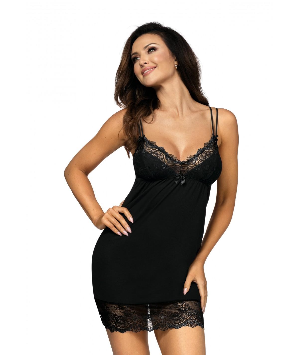 Koszulka nocna czarna Pamela  - DONNA